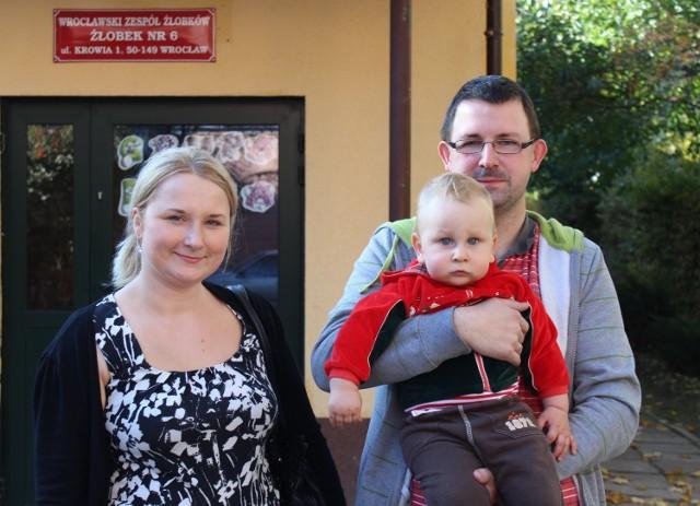 Anna Rogulska z mężem i synkiem
