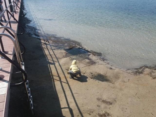 To zdjęcie jest jak symbol dramatu. Ten malec bawi się w piasku w miejscu, gdzie jeszcze niedawno był metr wody.