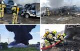 Pożar na stacji demontażu pojazdów w Stobnie. Eksplozje, duże zadymienie, silny wiatr. Podsumowujemy akcję strażaków. Zobacz ZDJĘCIA
