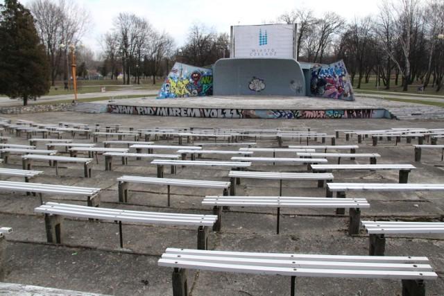 Tak dziś wygląda amfiteatr w Parku Grabek