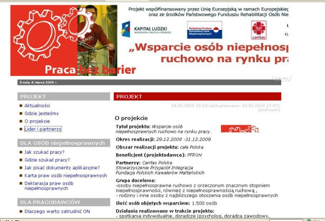 Screen strony http://www.sprawni.caritas.pl/news.php?id=12&d=72