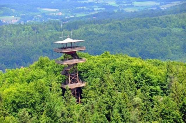 """Wieżyca to najwyższy szczyt moreny czołowej na całym Niżu Środkowoeuropejskim, liczący 329 m. Góra porośnięta jest 150-letnim lasem bukowym. Aby dostać się do wieży, trzeba przygotować się na 15-minutowy spacer jednym z trzech szlaków. Dotarcie do wieży widokowej z najbliższego parkingu zajmuje około 15-20 minut. Obecną, metalową wieżę widokową im. Jana Pawła II postawiono w 1997 roku i stanowi ona prawdziwą atrakcję dla zwiedzających Kaszuby. Rozciąga się z niej widok na pofałdowaną, kaszubską krainę jezior, lasów i pól. """"Z lotu ptaka"""" można podziwiać Kółko Raduńskie, czyli pierścień jezior i Wzgórza Szymbarskie. W odległości 4 km od wieży znajduje się Centrum Aktywnego Wypoczynku Koszałkowo, w którym nie tylko wrzucicie coś na ząb, ale również oddacie się rozrywkom na świeżym powietrzu."""