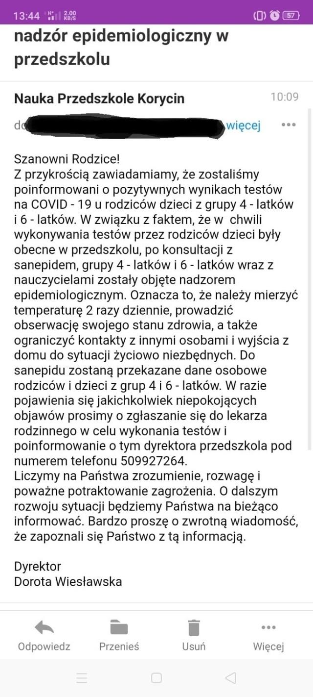 Screen mejla, który dyrektorka Przedszkola w Korycinie rozesłała do rodziców dzieci z grup 4- i 6-latków.