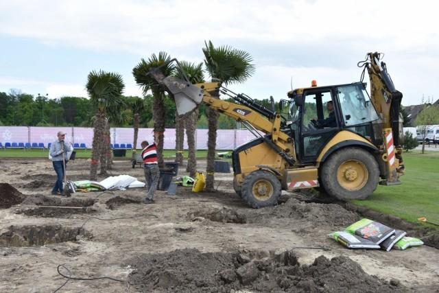 Hotel Remes przygotowuje się na przyjazd kadrowiczów. Budowany jest basen i stawiane są... palmy. Zobacz więcej zdjęć z Opalenicy, gdzie będzie przygotowywać się reprezentacja ---->