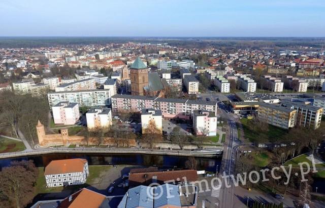 Tak prezentuje się centrum Goleniowa z lotu ptaka