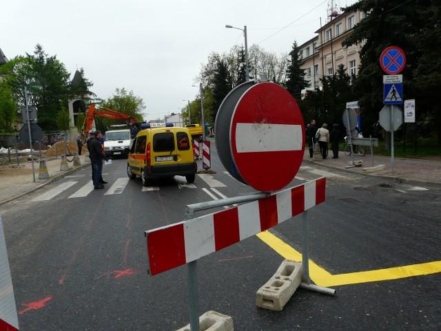 Ulica Kościuszki jest zamknięta dla ruchu samochodowego