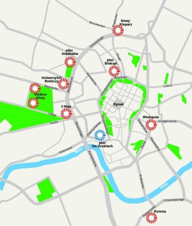 Krakow Parkingi Tylko W Marzeniach Mapa Krakow Nasze Miasto