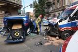 Wypadek z udziałem karetki pogotowia na ulicy Piastowskiej w Legnicy