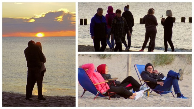 Turyści, którzy zdecydowali przedłużyć sobie weekend wyszli wieczorem na plażę podziwiać kolorowe niebo.