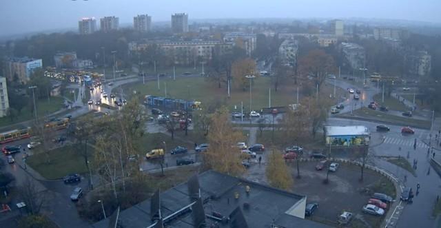 Wypadek na rondzie Lotników Lwowskich w Łodzi