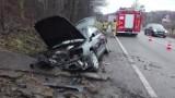 Okocim k. Brzeska. Wypadek na DK nr 75. Audi zjechało z drogi i rozbiło się o betonowy przepust