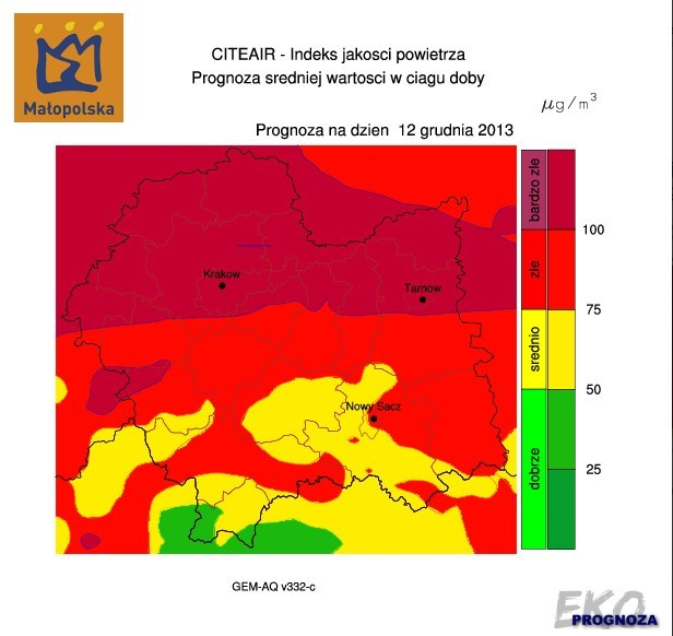 Prognoza jakości powietrza na 12 grudnia.