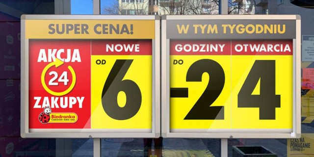 Sieć Biedronka poinformowała 1 kwietnia 2020 r. (i nie jest to prima aprilis) o swojej reakcji na nowe zmiany ogłoszone przez polski rząd w związku z pandemią koronawirusa. Od 2 kwietnia 2020 r. (czyli od czwartku) sklepy sieci Biedronka wydłużają godziny otwarcia – będą czynne w godz. 6.00–24.00. Nie będzie przerwy technicznej w środku dnia.  Czytaj więcej, kliknij w kolejne zdjęcie >>>