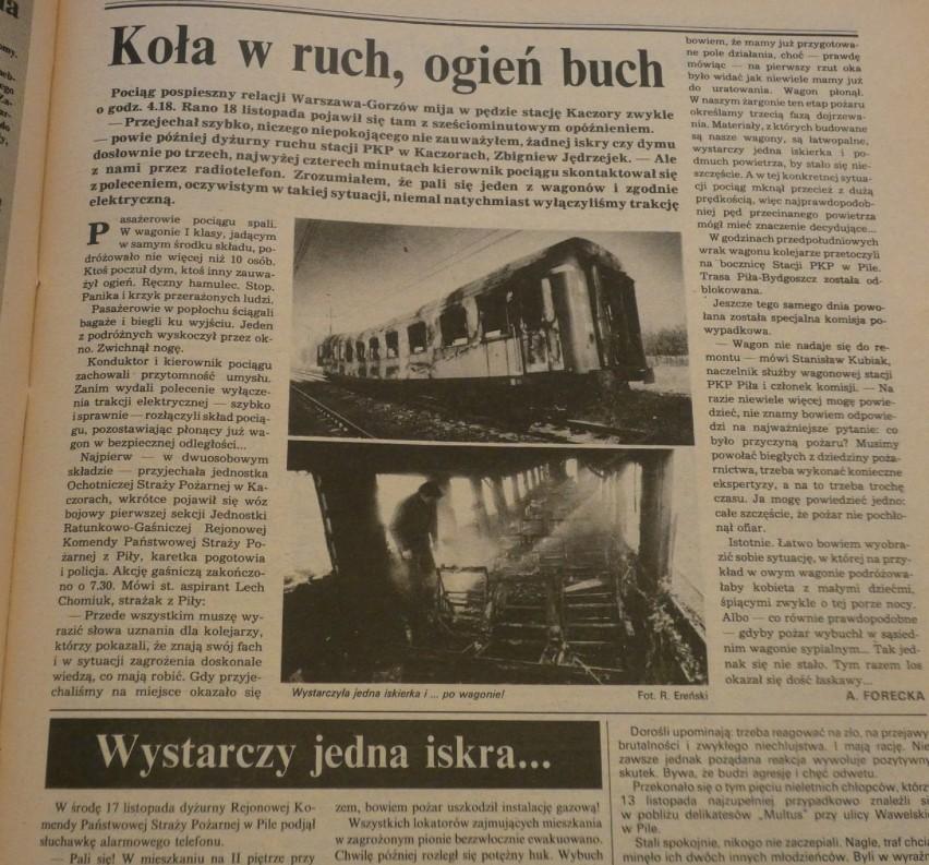 Niebezpieczne pociągi, nowi patroni i śnieg w listopadzie. Tygodnik Pilski, 1993 rok