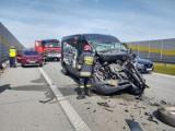 Wypadek na S8 między węzłami w Zduńskiej Woli. Zderzenie trzech pojazdów ZDJĘCIA