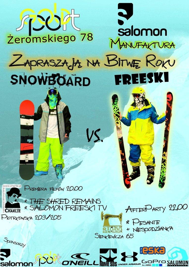 0162b6a4e 25 listopada, o godz. 20, w kinie Charlie odbędzie się impreza FREESKI  vs.SNOWBOARD by Gold Sport. Organizowana jest ona przede wszystkim z myślą  o ...