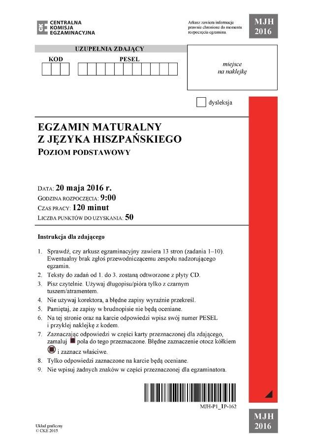 Matura 2016 z języka hiszpańskiego 2016. ARKUSZE CKE PDF, PYTANIA Z HISZPAŃSKIEGO 20 maja 2016