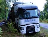 Kierowca ciężarówki miał dwa promile i wjechał do rowu. Wypadek nieopodal Kołczygłów na drodze wojewódzkiej nr 209