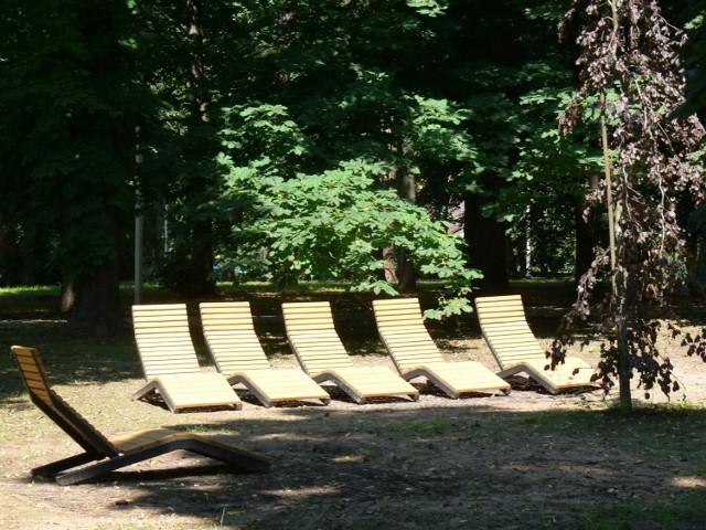Nowością jest kilka drewnianych leżaków, które zamontowano w strefie rekreacyjnej parku.