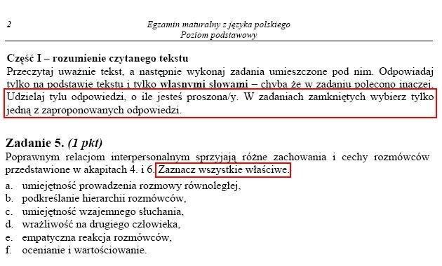 W arkuszu egzaminu maturalnego z języka polskiego pojawił się błąd