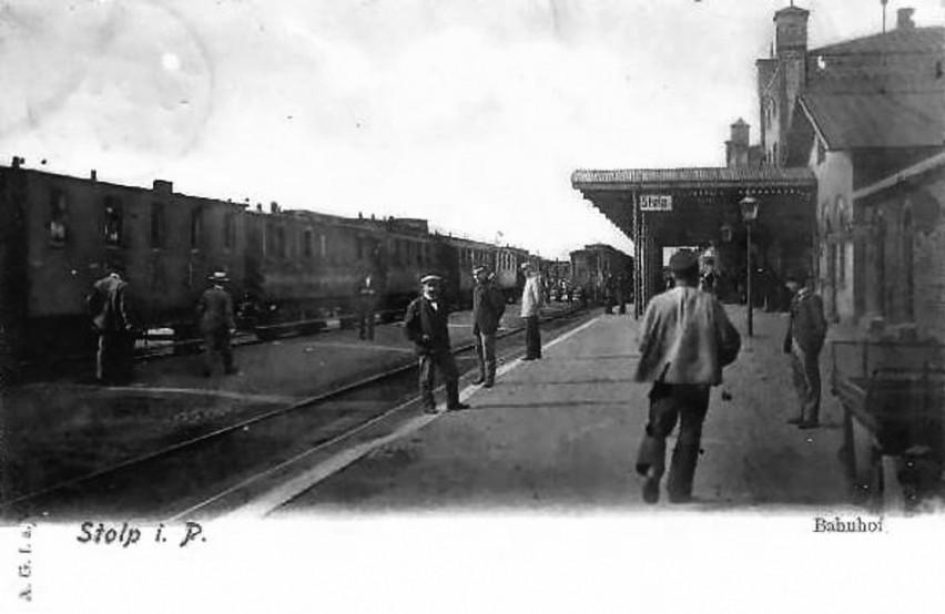Dworzec w Słupsku na początku XX wieku