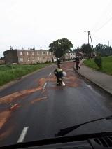 Niebezpieczna substancja na drodze! Doszło do zderzenia dwóch samochodów [GALERIA ZDJĘĆ]