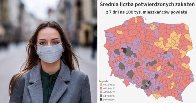 COVID-19 w Śląskiem. Biorąc pod uwagę 10 miast i powiatów z najwyższym wskaźnikiem nowych zakażeń w Polsce - aż 5 z nich to lokalizacje z woj. śląskiego! Nie bez kozery od wielu już dni, to właśnie w woj. śląskim jest najwięcej nowych zakażeń.   Dziś, w czwartek 15 kwietnia, w Polsce mieliśmy aż 21 130 nowych przypadków koronawirusa w Polsce, natomiast w woj. śląskim 3 142. W całym kraju na CoViD-19 zmarły aż 682 osoby, w woj. śląskim - 93.  Sprawdziliśmy w czwartek 12 kwietnia wskaźnik zakażeń dla poszczególnych miast i powiatów w woj. śląskim. Wskaźnik ten informuje nas o liczbie potwierdzonych zakażeń z 7 dni na 100 tys. mieszkańców.   Jak dokładnie wygląda sytuacja w woj. śląskim? Gdzie liczba zachorowań jest wciąż dramatycznie wysoka - o tym mówi nam m.in. wskaźnik zakażeń. Sprawdź, kliknij w następne zdjęcie >>>