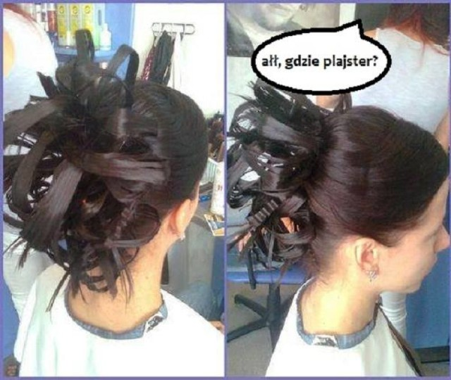"""Facebook """"Beka z fryzur weselnych""""  Najgorsze fryzury weselne: Wesele, to czas gdy każda z Pań chce wyglądać najlepiej jak potrafi. Niestety, nie każdy fryzjer to wirtuoz grzebienia, a efekty pracy nie których salonów potrafią przyprawić o zawrót głowy. Oto najgorsze weselne fryzury.   ZOBACZ KOLEJNE ZDJĘCIA - kliknij następne zdjęcie...   Sprawdź modne fryzury na sylwestra: Fryzura na sylwestra 2017/2018 [ZDJĘCIA]. Sprawdź propozycje  Kreacje sylwestrowe 2015/2016. W co się ubrać? [CO MODNE, JAKIE TRENDY?]  Sylwester 2017/2018 woj. śląskim: Tak świętują miasta [Sylwester w plenerze]"""