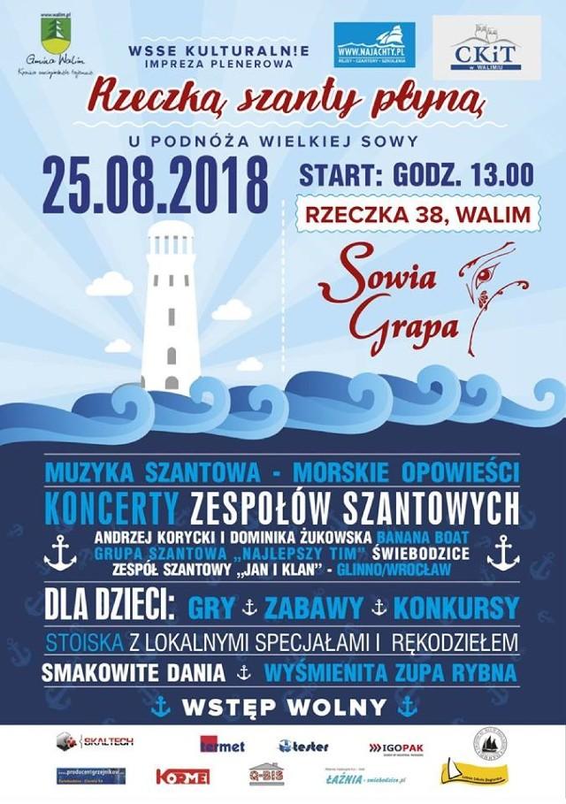 Zaproszenie na imprezę plenerową: Rzeczką szanty płyną do ośrodka Sowia Grapa w Rzeczce na terenie gminy Walim