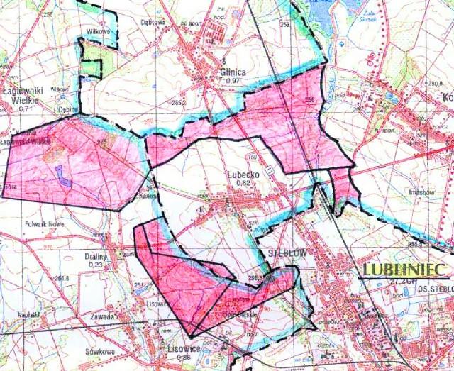 Na czerwono zaznaczono miejsca, gdzie będą mogły stanąć wiatraki