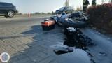 Dwie osoby poszkodowane w wyniku zderzenia mercedesa z motocyklem w Ociążu ZDJĘCIA