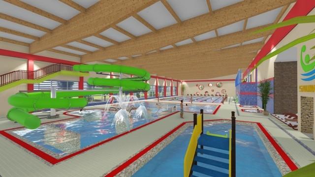 Tak pierwotnie miał wyglądać kryty basen w Kostrzynie. Inwestycja została w międzyczasie okrojona, aby ograniczyć koszty.