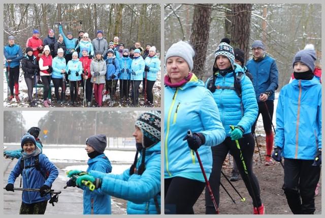 Włocławek, ul. Leśna. Trening pasjonatów nordic walking.