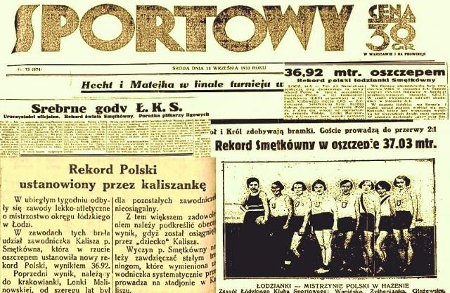 O rekordach kaliszanki Zofii Smętek rozpisywał się przed wojną między innymi Przegląd Sportowy.
