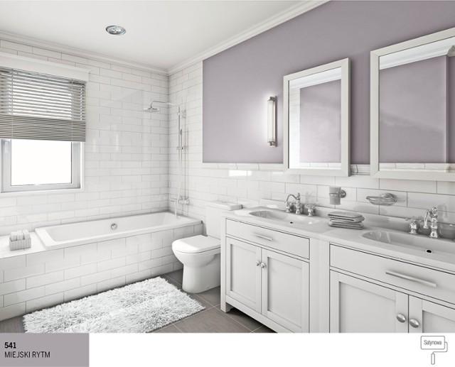 Szukasz inspiracji, w której klasyka łączy się z nowoczesnością? Zobacz jak pięknie wygląda szaro-biała łazienka, w której główne skrzypce grają duże białe kafle i bielone drewno. Mamy tu geometryczne kształty, czyste linie, ale złagodzone nawiązaniem do aranżacji w duchu sentymentalnym. Białe wnętrze łazienki wzbogaciliśmy o lekko mieniącą się szarą ścianę pomalowaną lateksową farbą z satynowym wykończeniem Śnieżka Satynowa 541 Miejski Rytm. Uzyskaliśmy tym samym stylowe, szlachetne wnętrze, które wprost zaprasza do relaksu.