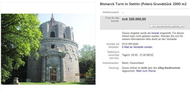 Na portalu ebay.de można kupić Wieżę Bismarcka. I to w promocji. ...