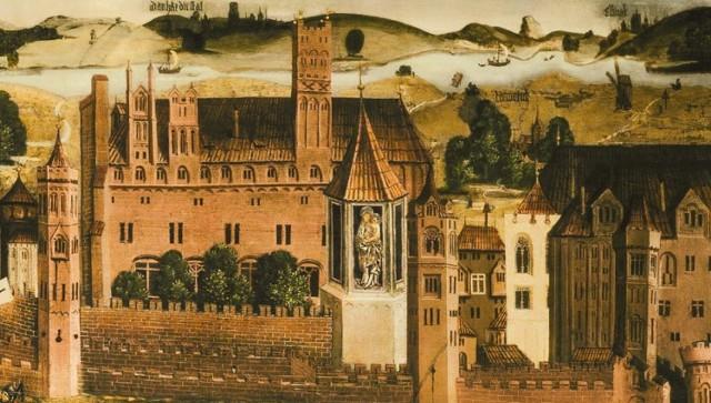 """Zamek malborski w drugiej połowie XV wieku, fragment zaginionego obrazu """"Oblężenie Malborka"""" z 1480 r."""