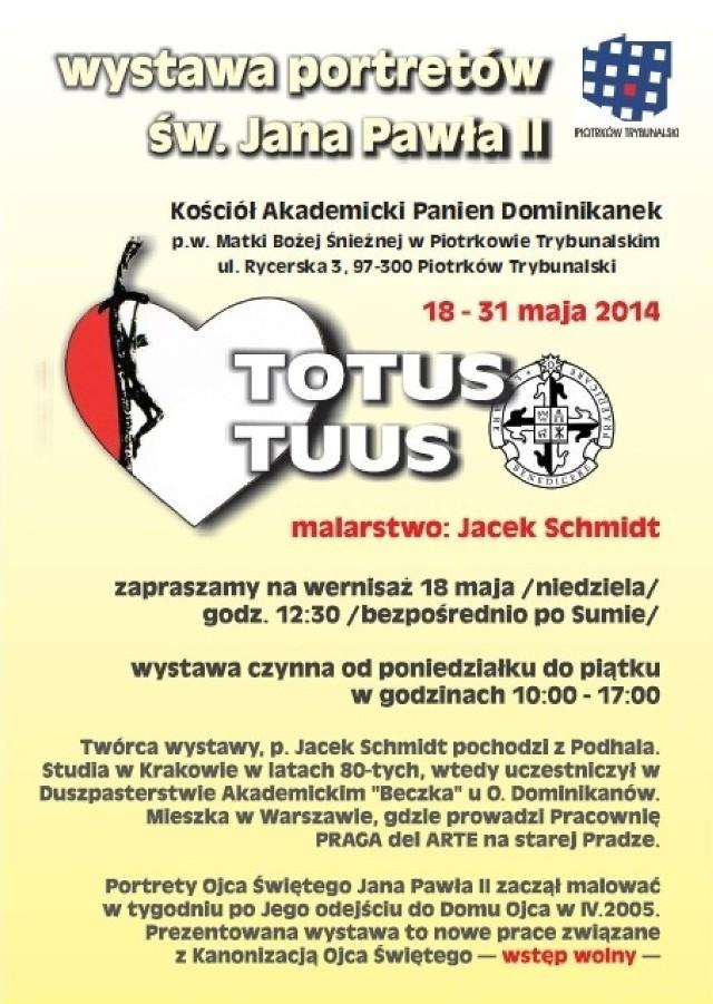 Wystawa portretów Jana Pawła II w kościele Panien Dominikanek w Piotrkowie będzie czynna od 18 do 31 maja.
