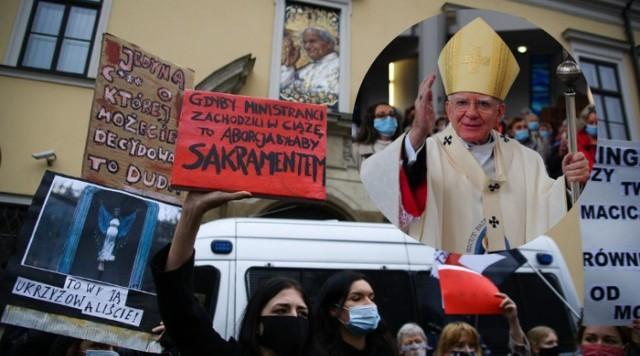 Protest pod krakowski kurią, siedzibą metropolity abp Marka Jędraszewskiego