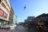 Helikopter nad ul. Dworcową w Katowicach. Co się stało?