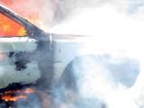 Pożar samochodu w Dusocinie pod Grudziądzem. Droga była zablokowana