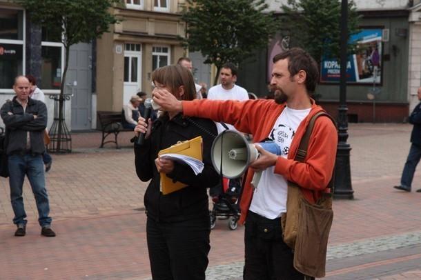 Zdjęcie z protestu na rynku w Chojnicach