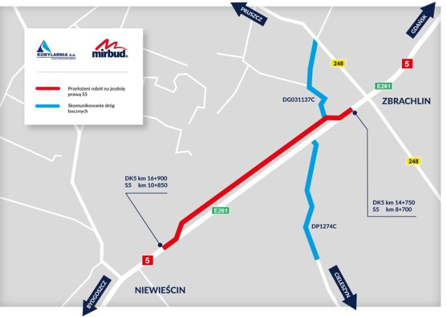Tak na schemacie wygląda zmiana organizacji ruchu na drodze ekspresowej S5 pomiędzy Zbrachlinem a Niewieścinem