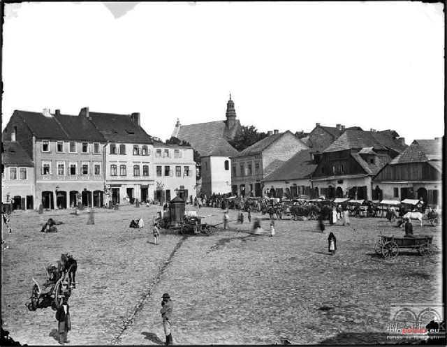 Lata 1885-1895 , Rynek w Chrzanowie.