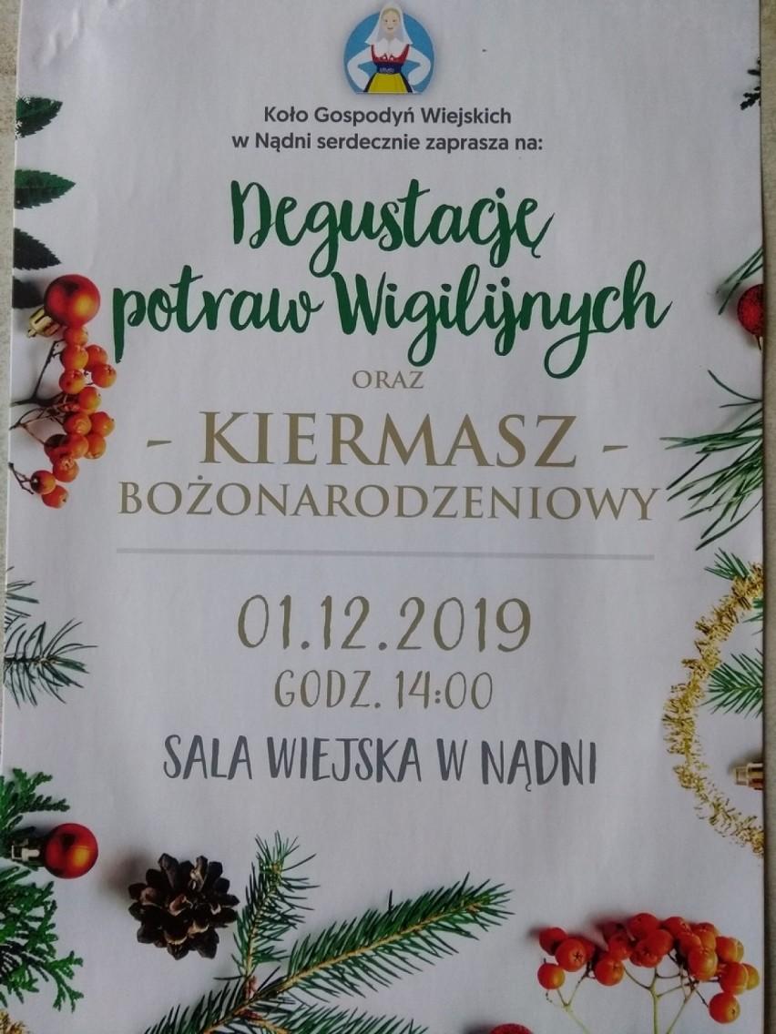 Nądnia. Degustacja potraw wigilijnych i Kiermasz Bożonarodzeniowy - 1 grudnia 2019