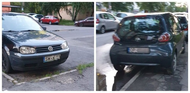 Kierująca toyotą (z prawej) uszkodziła podczas parkowania volkswagena golfa i odjechała z miejsca zdarzenia. - Nagranie świadczy o tym, że zacierała ślady - mówi opolanka, która widziała sytuację z balkonu.