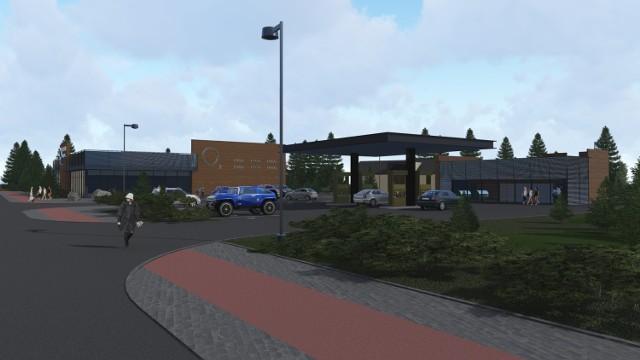 Tak wygląda koncepcja bazy PKS dworca autobusowego przy ul. Chojnickiej w Sępólnie. Ma być centrum handlowe i stacja paliw. Pojawił się jednak problem z sąsiedztwem cmentarza