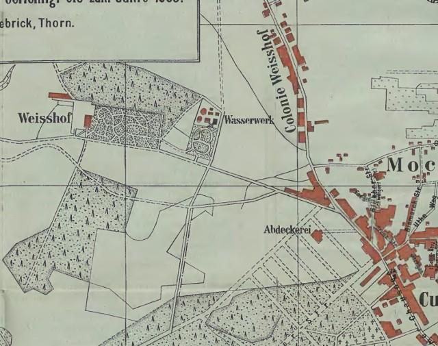 Bielany i kolonia Bielany przy Szosie Chełmińskiej na planie Torunia z wydanego w 1903 roku przewodnika po Toruniu napisanego przez Reinharda Uebricka