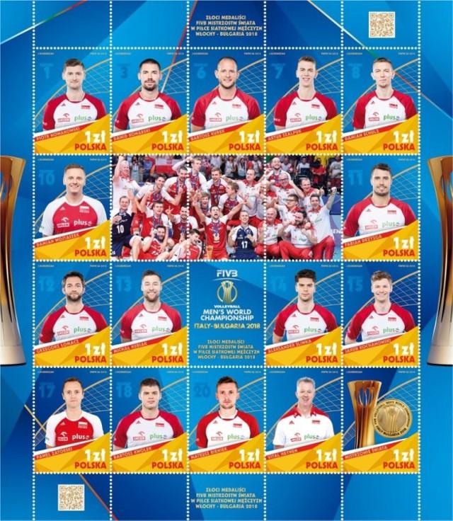Najnowszy blok znaczków Złoci Medaliści FIVB Mistrzostw Świata w Piłce Siatkowej Mężczyzn Włochy – Bułgaria 2018, wprowadzony do obiegu 28 grudnia 2018