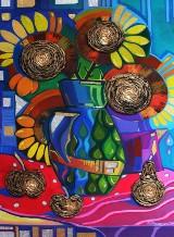 Wystawa malarstwa Marty Zwarycz w siedzibie Związku Ukraińców w Gdańsku. Obrazy namalowane pędzlami z sierści kota [zdjęcia]